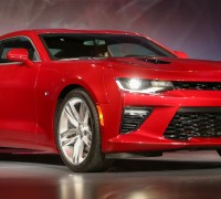 The 2016 Chevrolet Camaro is unveiled Saturday, May 16, 2015 at its world debut on Belle Isle in Detroit, Michigan. The sixth-generation Camaro is faster, lighter and more nimble. Engine options include a 2.0L Turbo, an all-new 3.6L V-6 and the LT1 6.2L V-8, which is SAE-certified at 455 horsepower and 455 lb-ft of torque – for the most powerful Camaro SS ever. Each engine is available with a six-speed manual or eight-speed automatic transmission. (Photo by John F. Martin for Chevrolet)