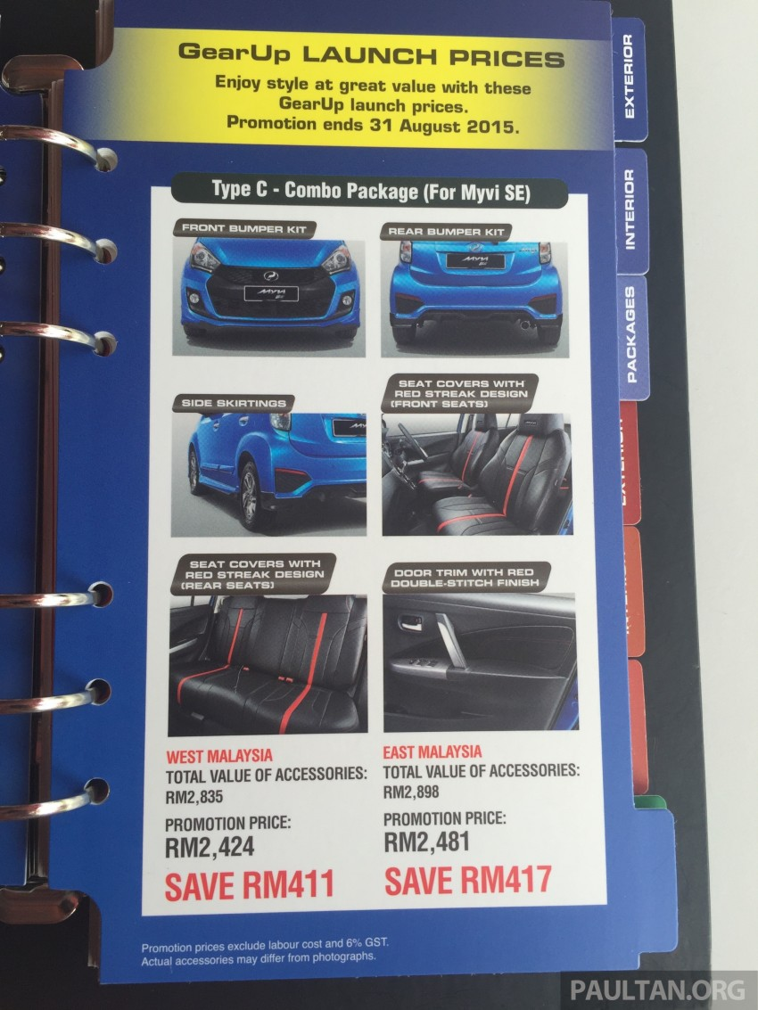 Perodua Myvi GearUp accessories – details and prices Image #342404