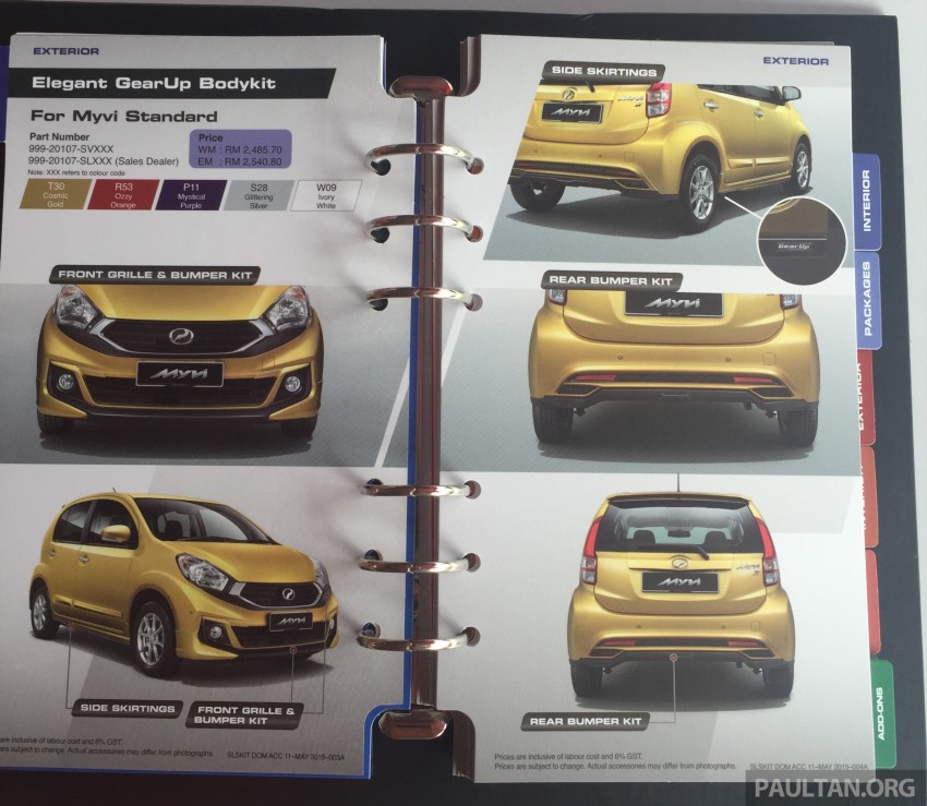 Perodua Myvi GearUp accessories – details and prices Image #342411
