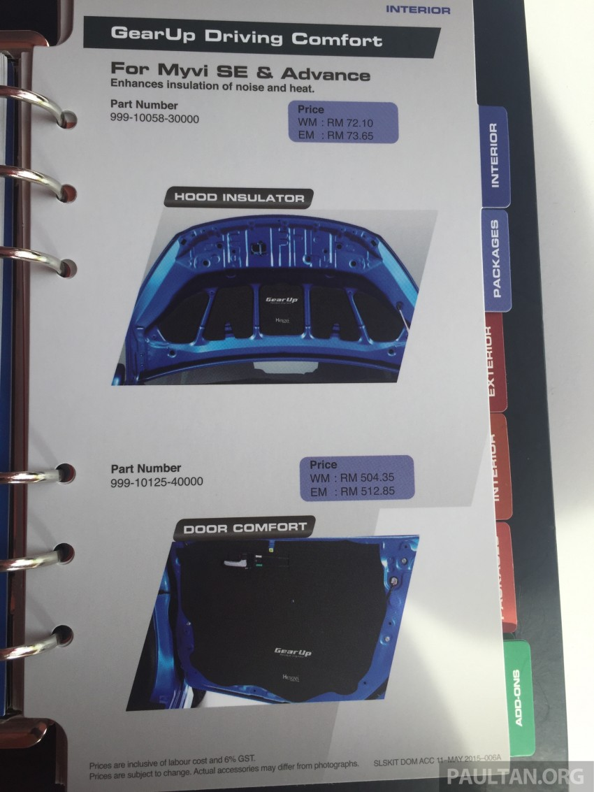 Perodua Myvi GearUp accessories – details and prices Image #342413