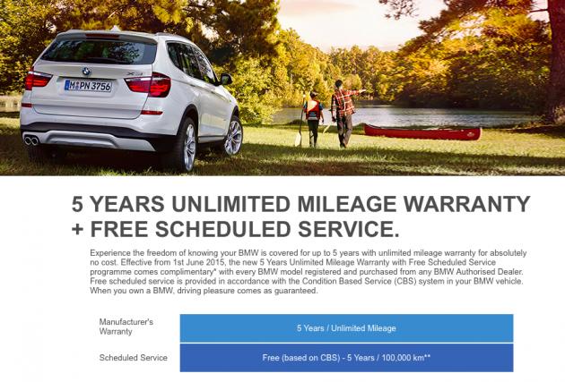 BMW Malaysia 5 years warranty
