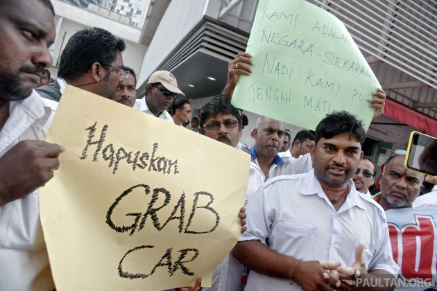 Taxi Drivers Protest Against GrabCar 1
