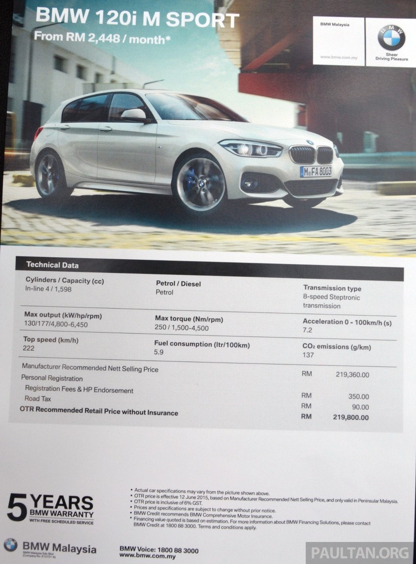 BMW 1 Series facelift launched – 120i M Sport, RM220k Image #349650