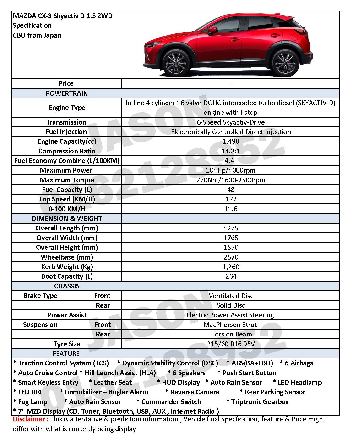 Mazda CX-3 1.5 diesel to be in Malaysia end of year? Image 345035