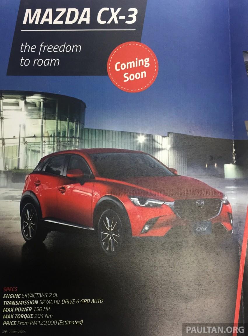 Mazda CX-3 – newsletter indicates est price, RM120k Image #359577