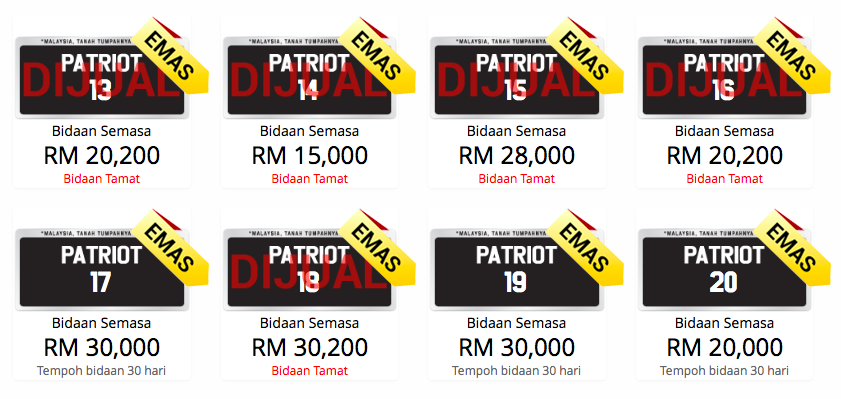 'PATRIOT 1' number plate sold for record RM1.3mil! Image #361341