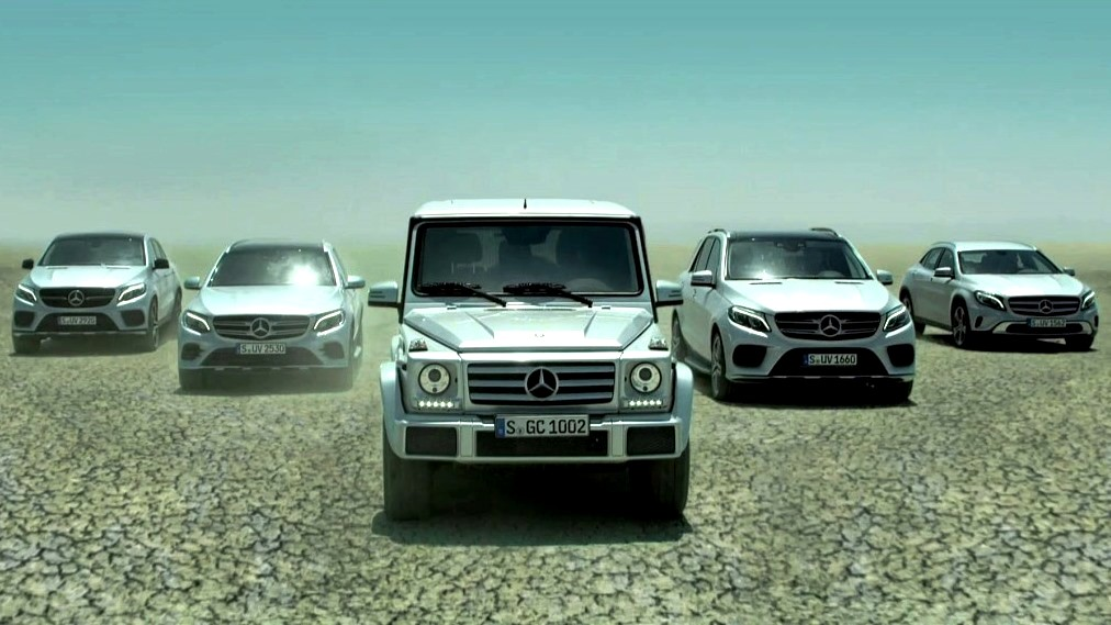 Video mercedes benz showcases its new suv range for Mercedes benz tv