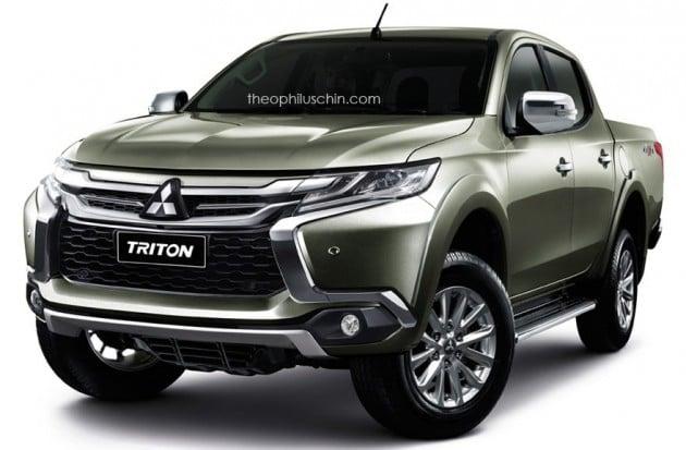 Mitsubishi Triton facelift rendered à la Pajero Sport