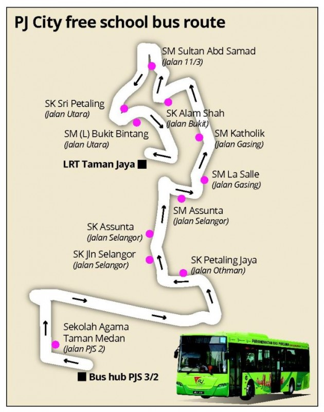 pj free school bus route