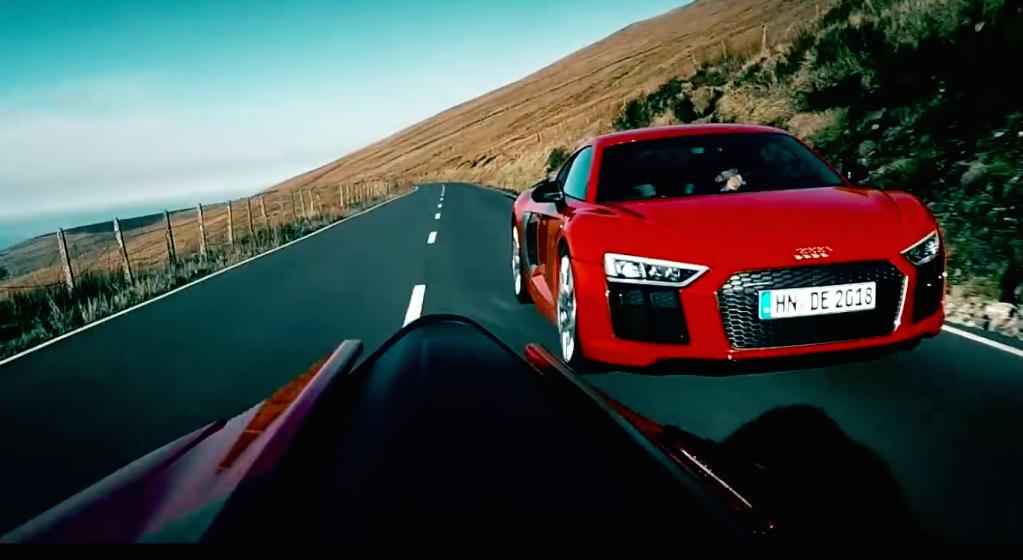 Video Audi R8 V10 Plus Versus Ducati On Isle Of Man Paul