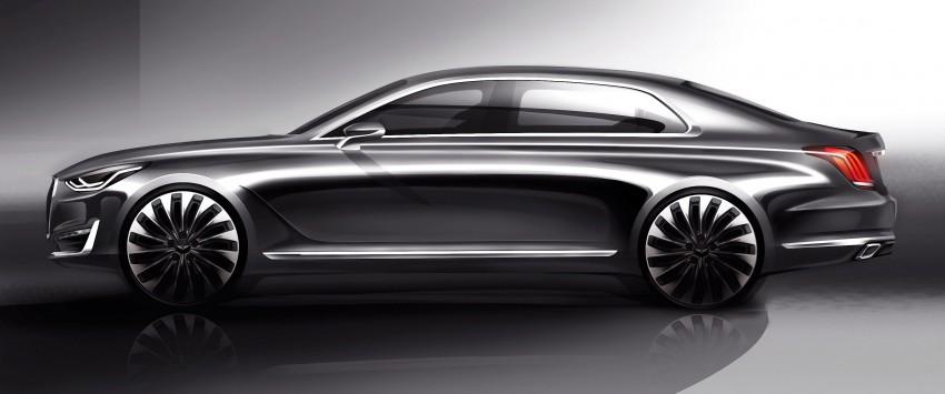 Genesis G90 flagship sedan previewed – debut in Dec Image #405640