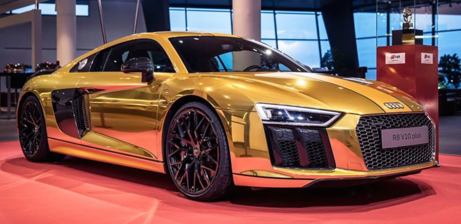 One Off Gold Audi R8 V10 Plus On Display In Germany Paul