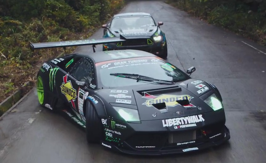video lambo murcielago vs ford mustang drift battle