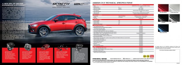 mazda cx 3 malaysian brochure spec sheet leaked. Black Bedroom Furniture Sets. Home Design Ideas