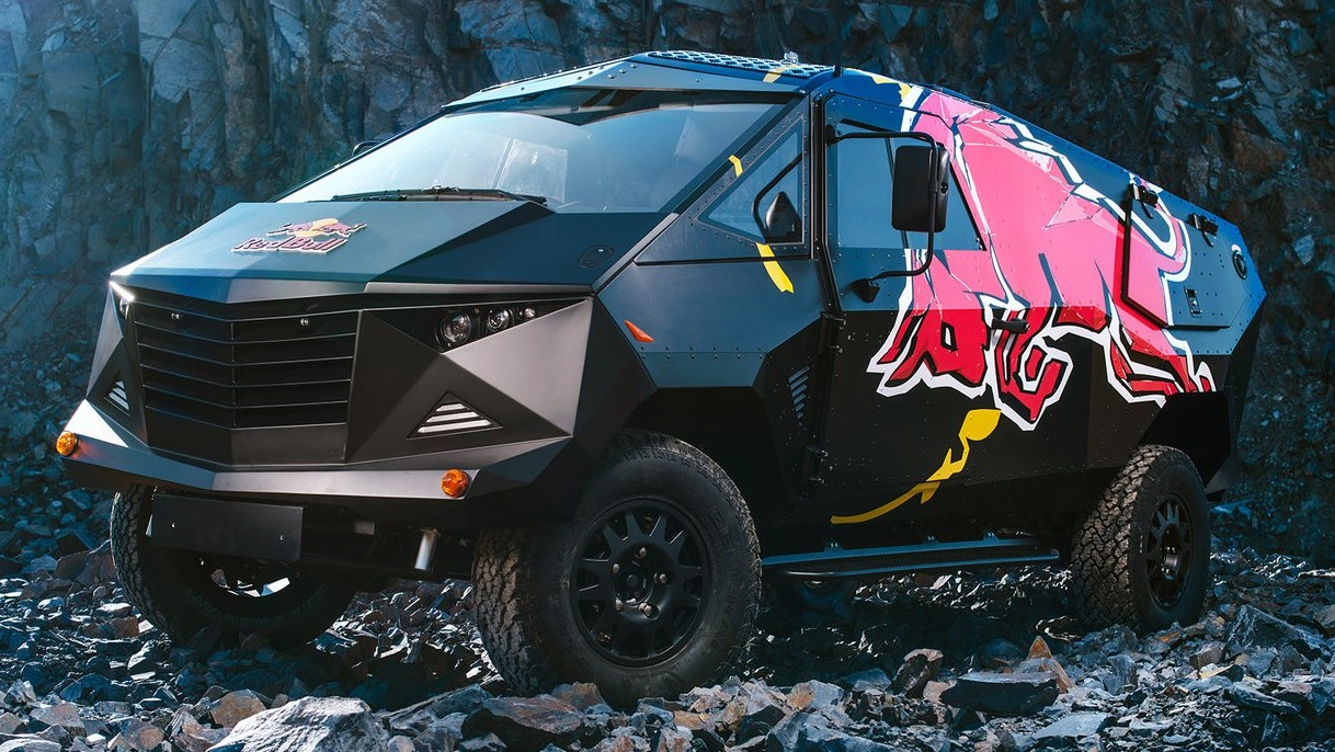Red Bull Defender Based Armoured Party Truck Debuts