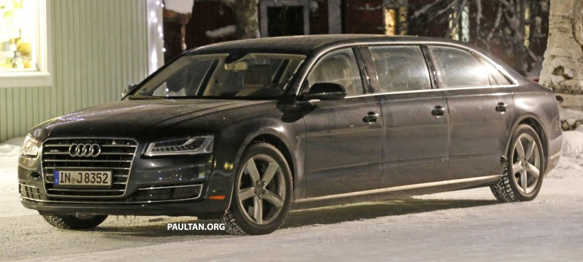 audi a8 stretched limousine with six doors sighted. Black Bedroom Furniture Sets. Home Design Ideas