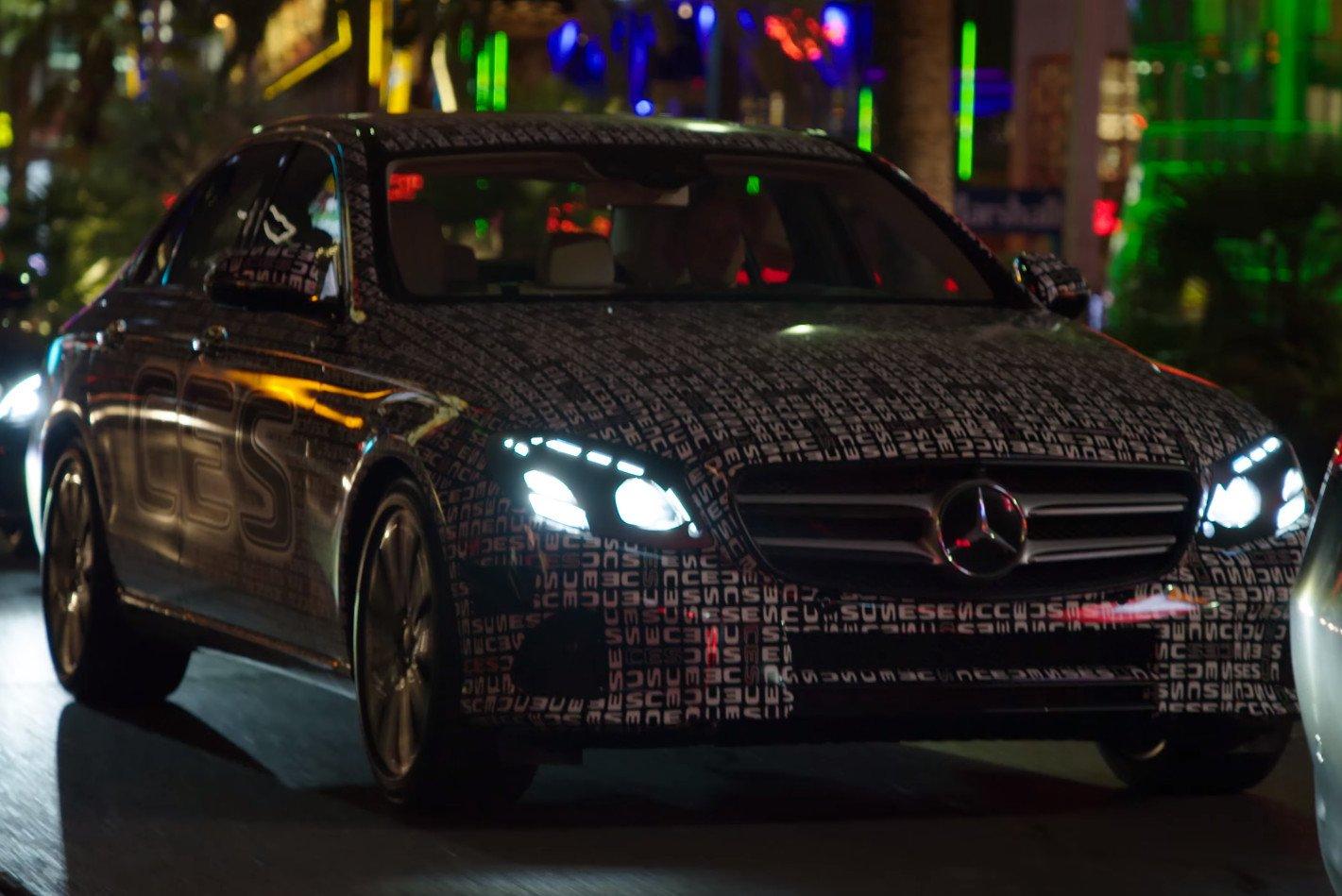 Video w213 mercedes benz e class teased in vegas for Mercedes benz vegas