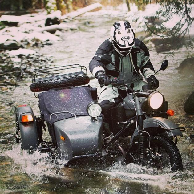 Ural-Motorcycle-Sidecarriver-crossing