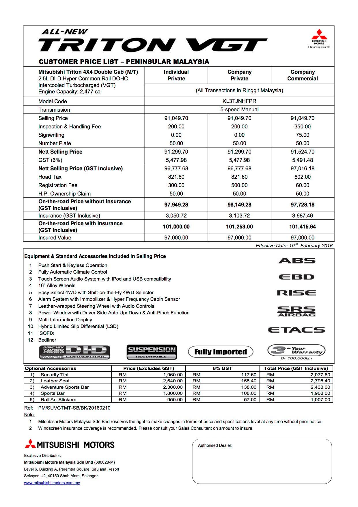 2016 mitsubishi triton price