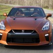"""The 2017 GT-R's exterior receives a thorough makeover. The new """"V-motion"""" grille, one of Nissan's latest design signatures, has been slightly enlarged to provide better engine cooling and now features a matte chrome finish and an updated mesh pattern. A new hood, featuring pronounced character lines flowing flawlessly from the grille, has been reinforced to enhance stability during high-speed driving. A freshly designed front spoiler lip and front bumpers with finishers situated immediately below the headlamps give the new GT-R the look of a pure-bred racecar, while generating high levels of front downforce."""