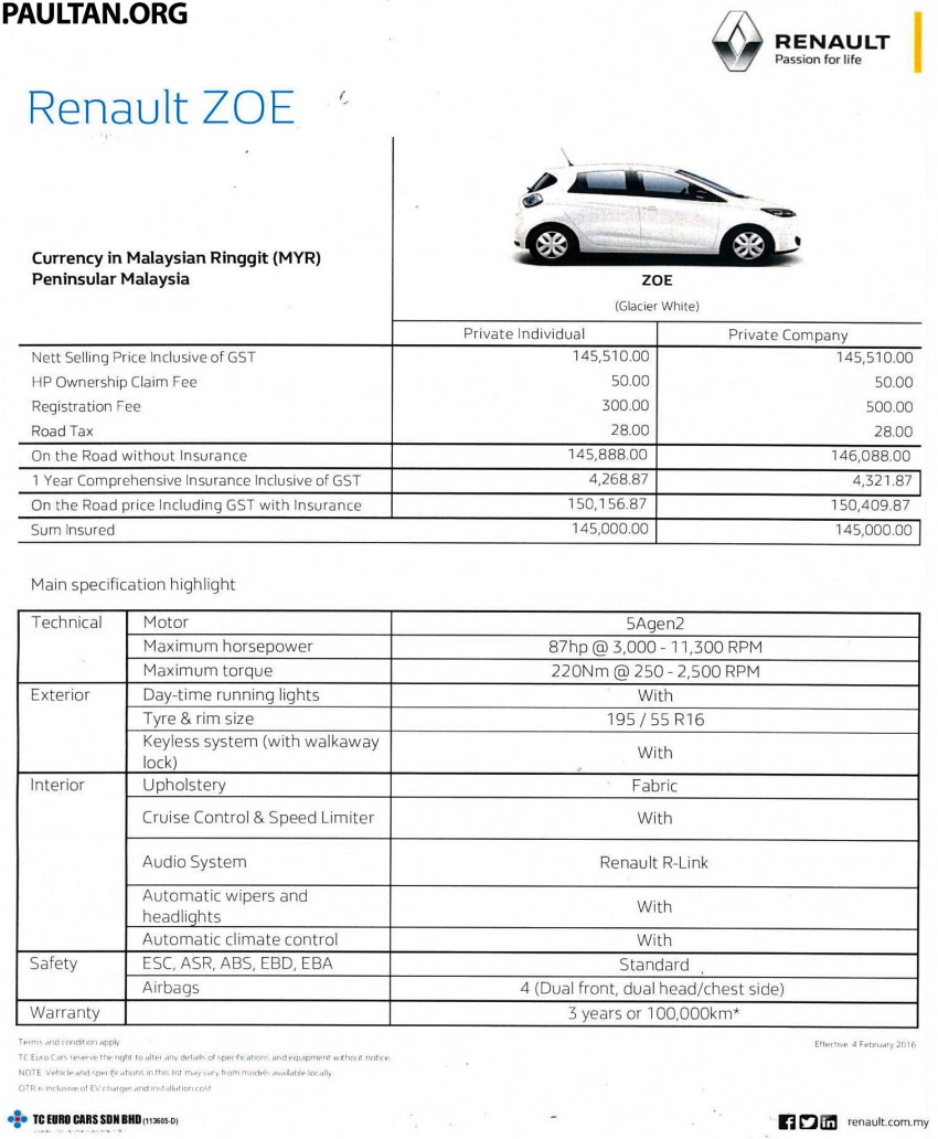 Renault Zoe electric vehicle now available in Malaysia from RM146k – 210 km range, 87 hp and 220 Nm Image #457171