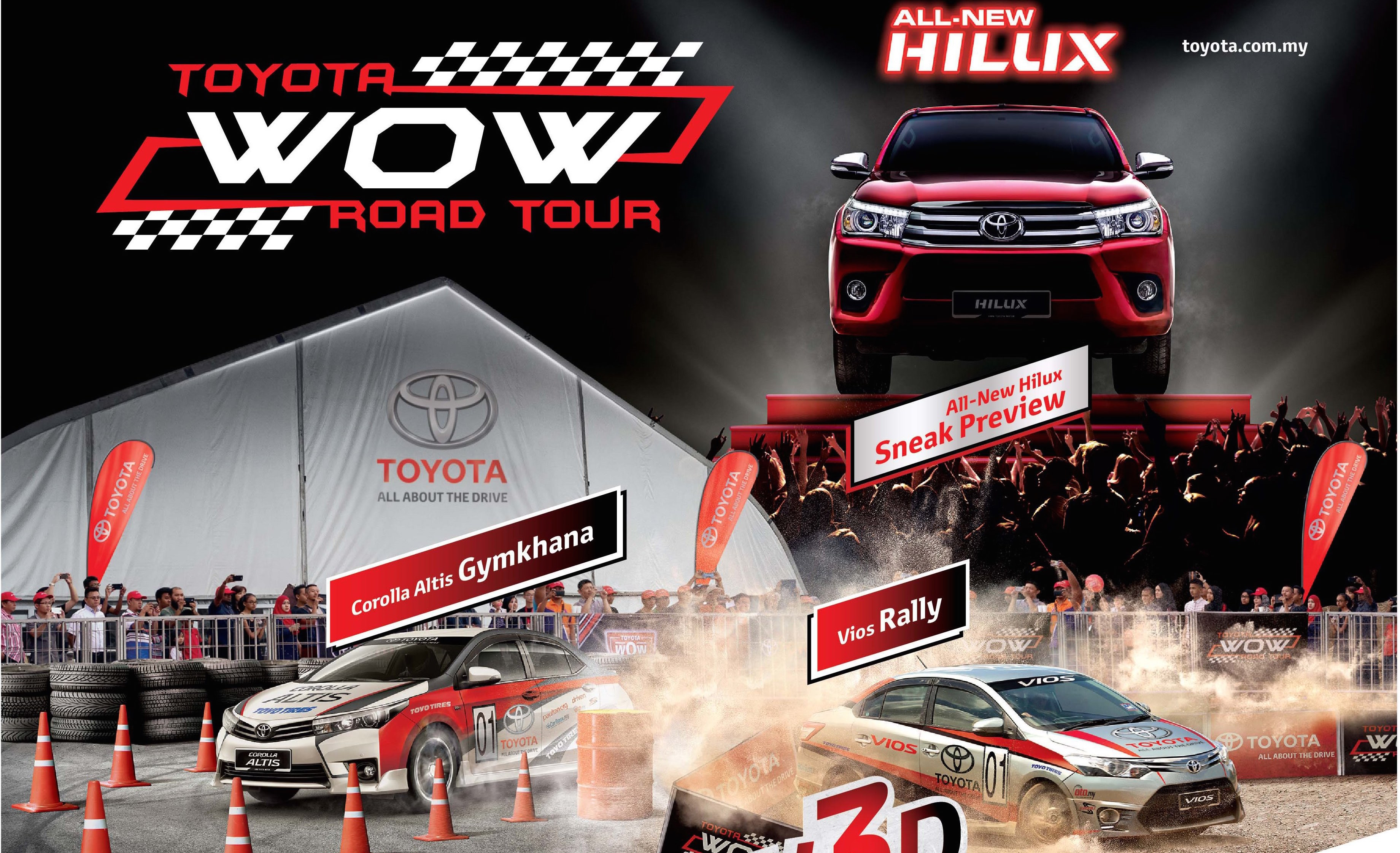 toyota wow road tour returns will preview new hilux. Black Bedroom Furniture Sets. Home Design Ideas