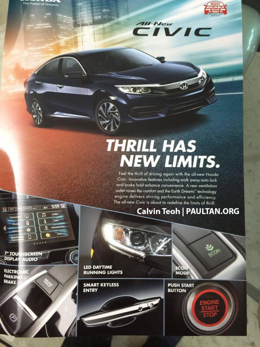 Honda Civic 2016 – hanya varian 1.6L SOHC i-VTEC untuk pasaran Singapura, harga bermula RM318k Image #479082