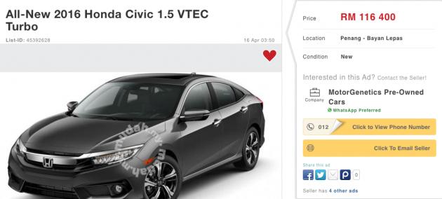 Delightful 2016 Honda Civic On Mudah 1