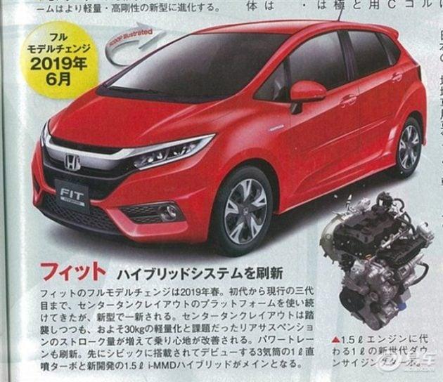 2019 Honda Jazz facelift Japan magazine render