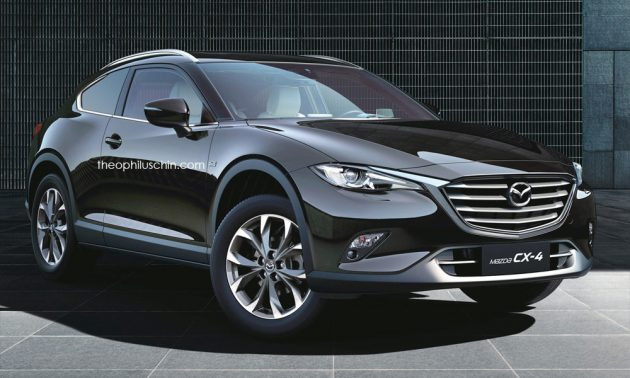 mazda cx-4 rendered as a two-door coupe crossover
