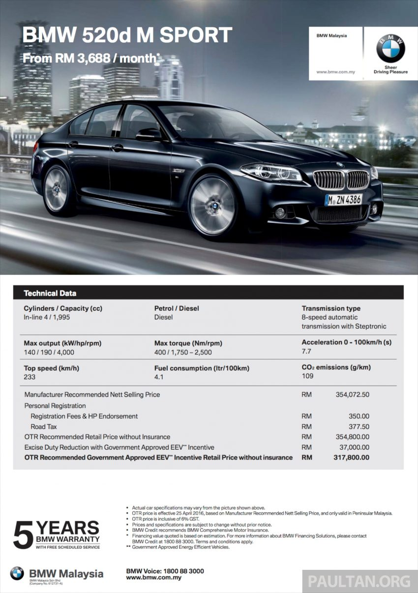 BMW 5 Series, X3 and 3 Series Gran Turismo get EEV status incentives – prices up to RM39,000 lower Image #483510