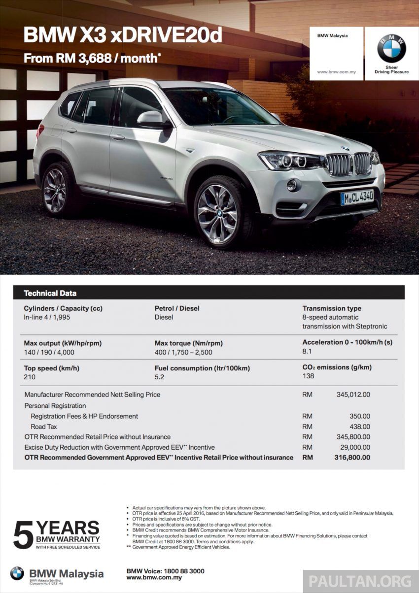 BMW 5 Series, X3 and 3 Series Gran Turismo get EEV status incentives – prices up to RM39,000 lower Image #483517