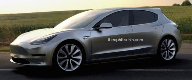 Tesla Model 3 hatchback rendering by Theo-03