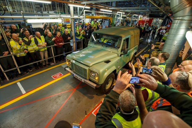 The last Defender rolling out of the Solihull plant in January 2016