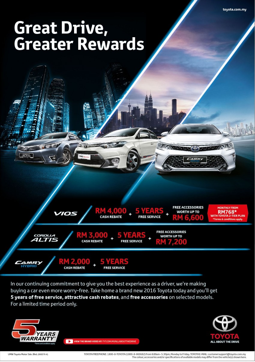 Toyota Great Rewards – five-year free service package, free accessories, rebates up to RM4,000 Image #472457