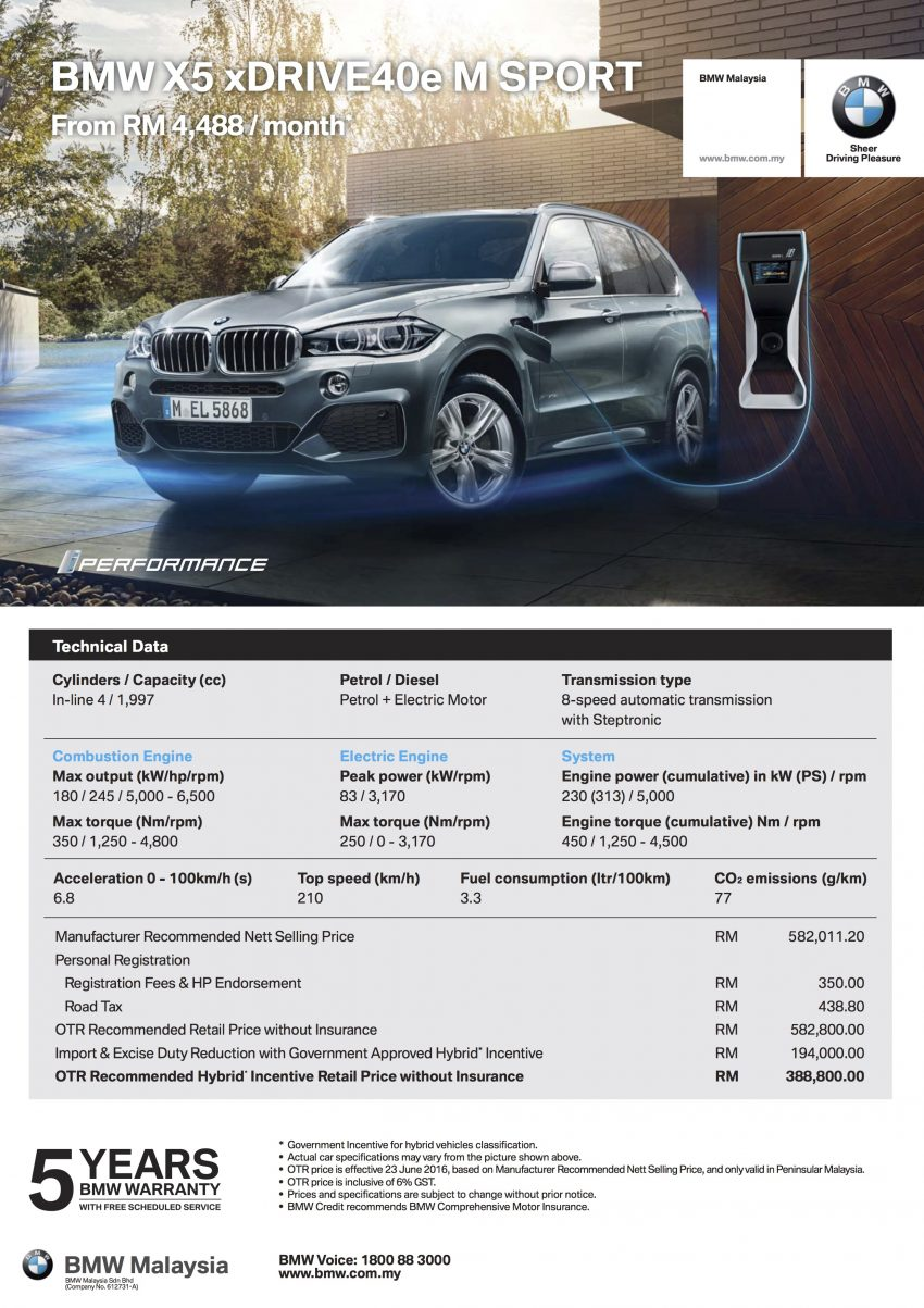 F15 BMW X5 xDrive40e M Sport plug-in hybrid SUV launched in Malaysia – RM388,800 OTR w/o insurance Image #511823