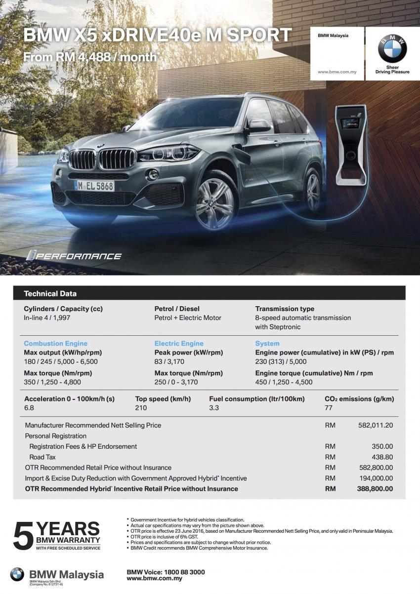 F15 BMW X5 xDrive40e M Sport plug-in hybrid SUV launched in Malaysia – RM388,800 OTR w/o insurance Image #511823