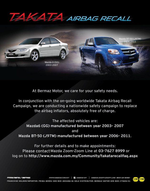 Mazda Malaysia Takat recall
