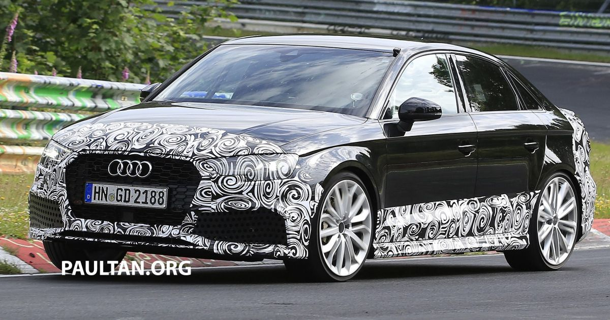 spyshots  new audi rs3 spotted testing on the track