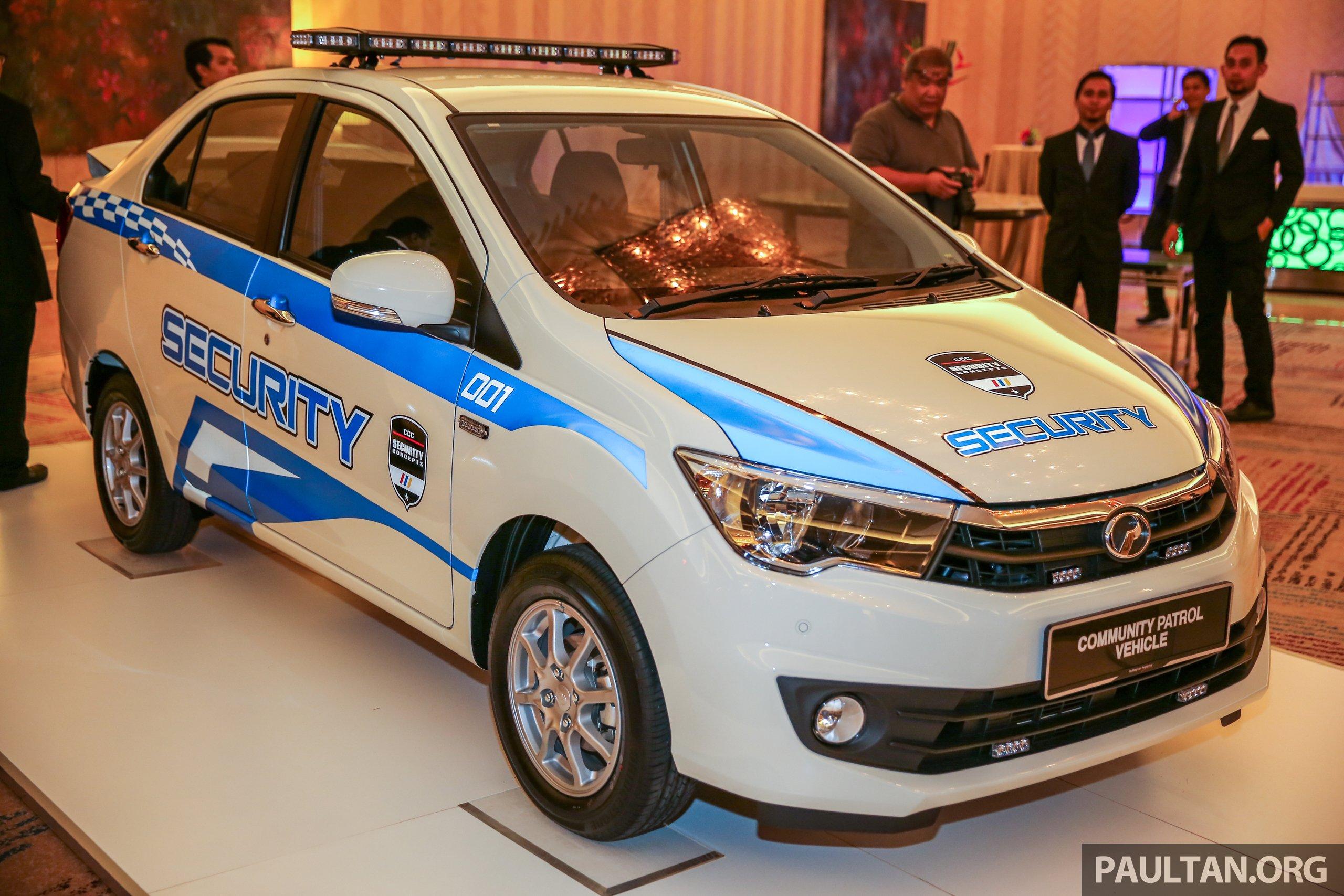 Perodua Bezza security patrol car displayed at launch
