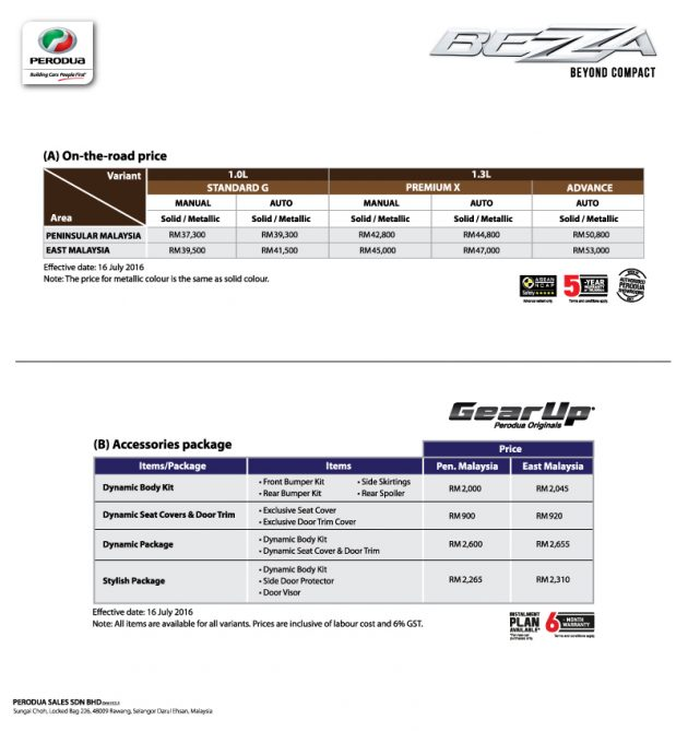 Perodua Bezza price list official
