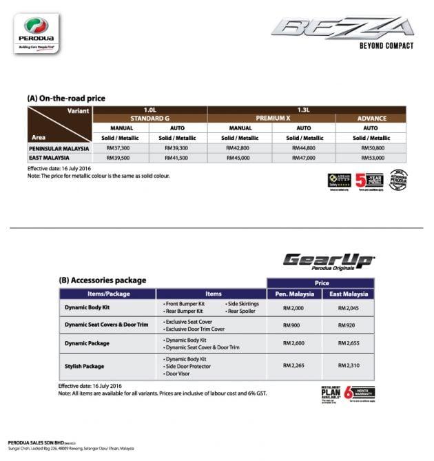 Perodua Bezza price list official