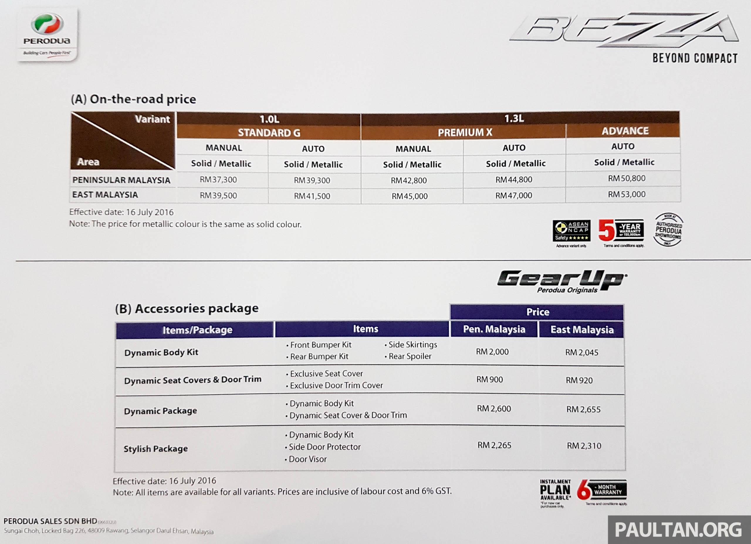 Malaysia car price list 2016 11