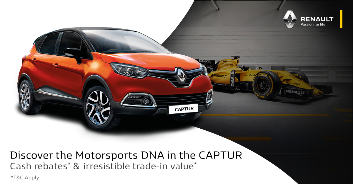 ad renault motorsports is in our dna campaign drive home a new captur from just rm888 month. Black Bedroom Furniture Sets. Home Design Ideas