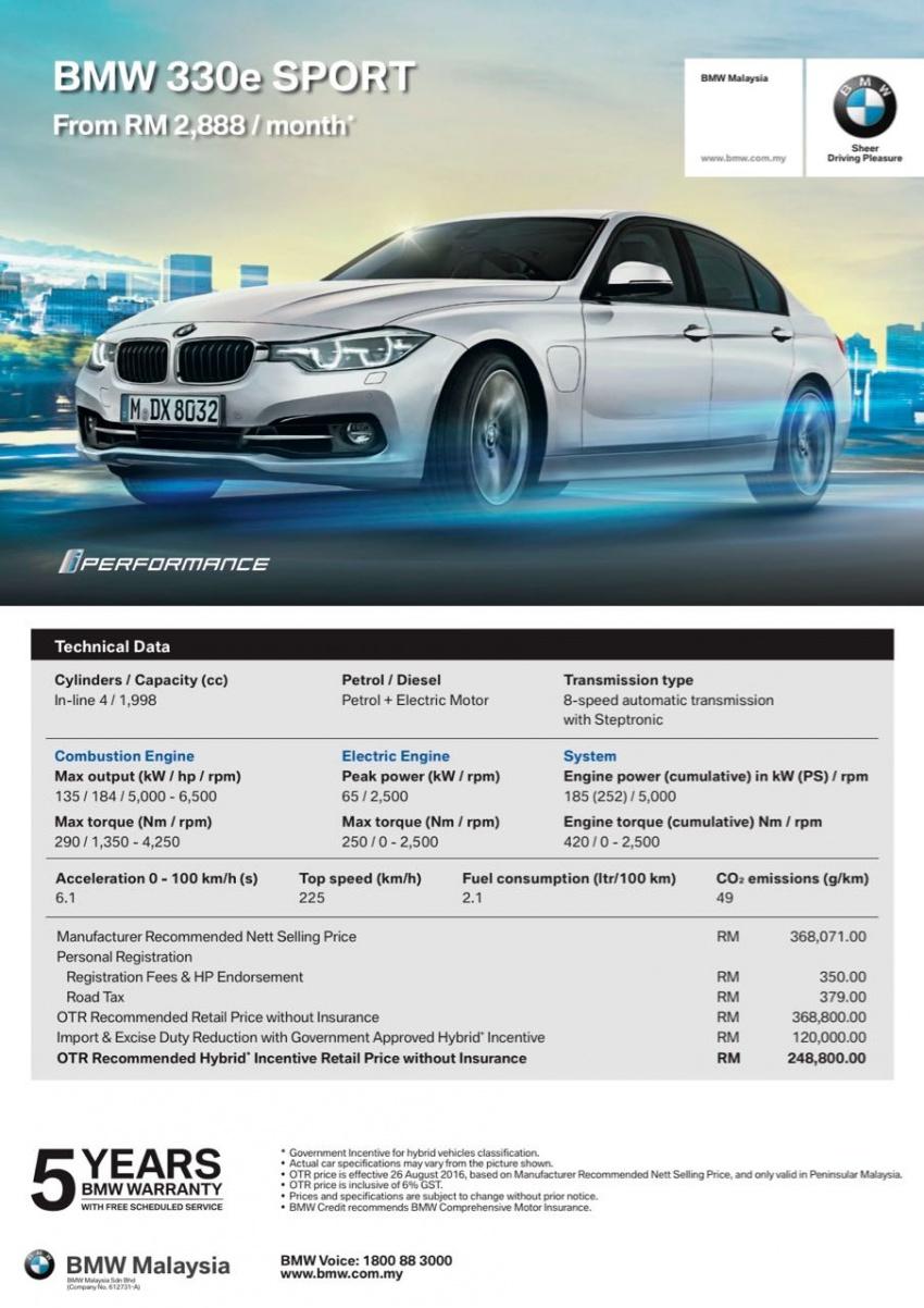 BMW 330e iPerformance Sport plug-in hybrid launched in Malaysia: 0-100 km/h 6.1 sec, 2.1 l/100 km, RM249k Image #540391