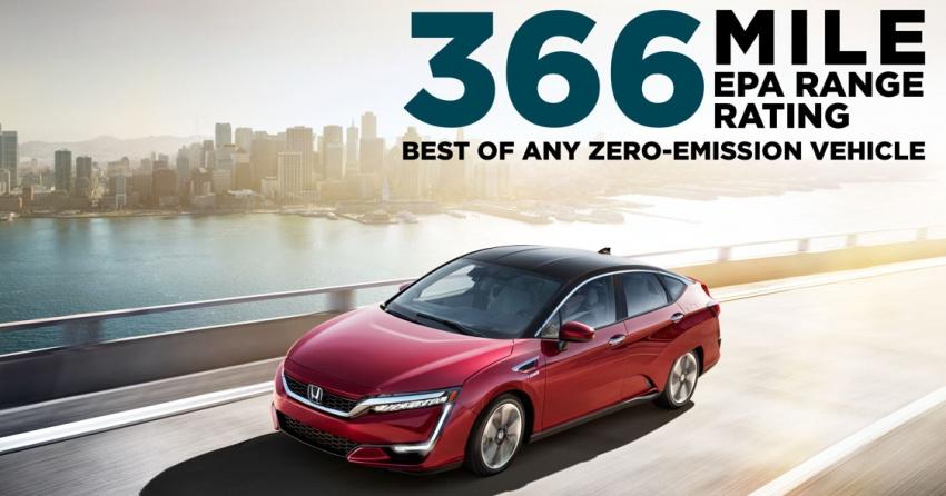 Honda Clarity Fuel Cell gets 589 km EPA driving range rating, best of any US-market zero-emission vehicle Image #568568