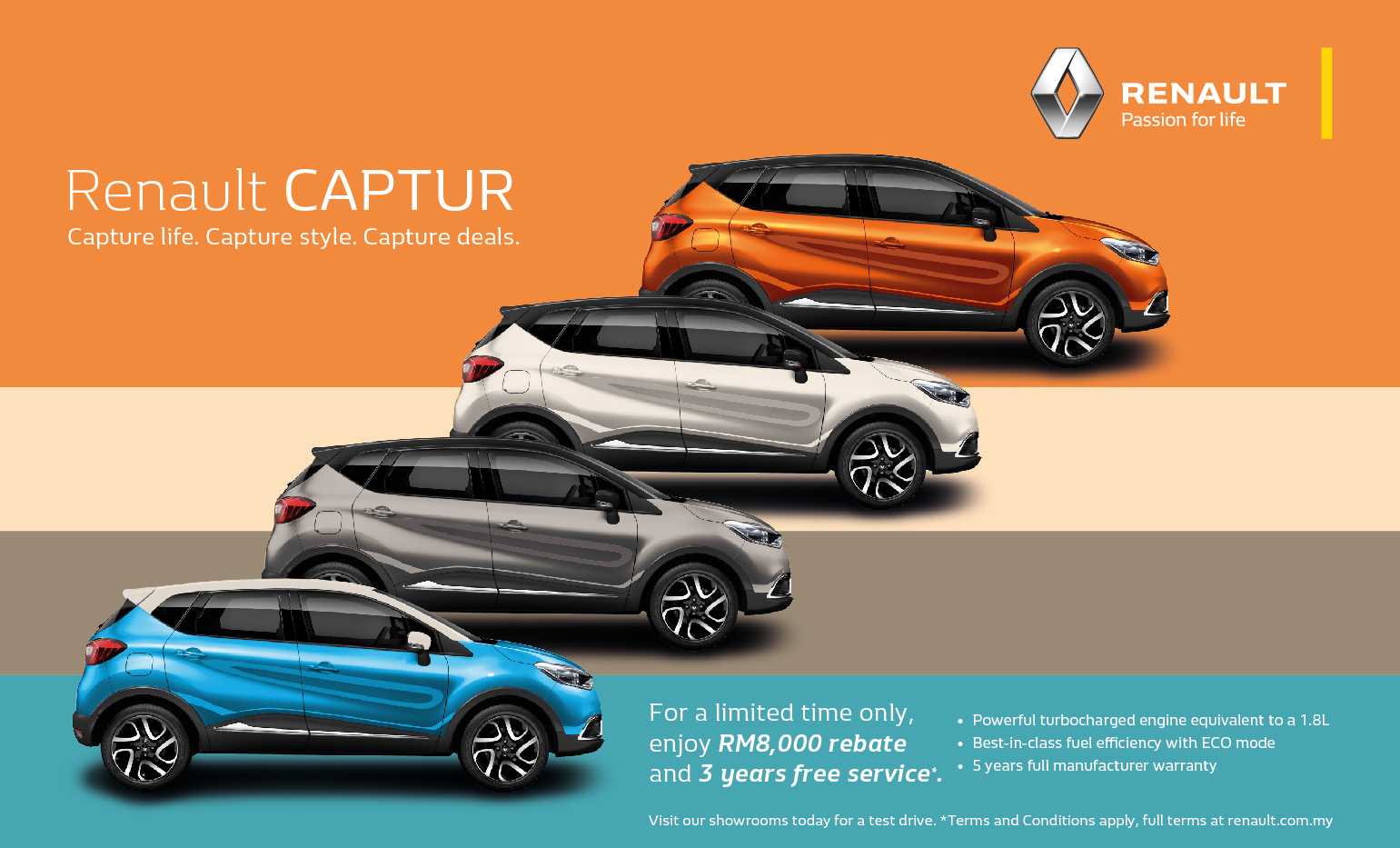 ad renault captur now offered with rm8 000 rebate three years of free service for added peace. Black Bedroom Furniture Sets. Home Design Ideas