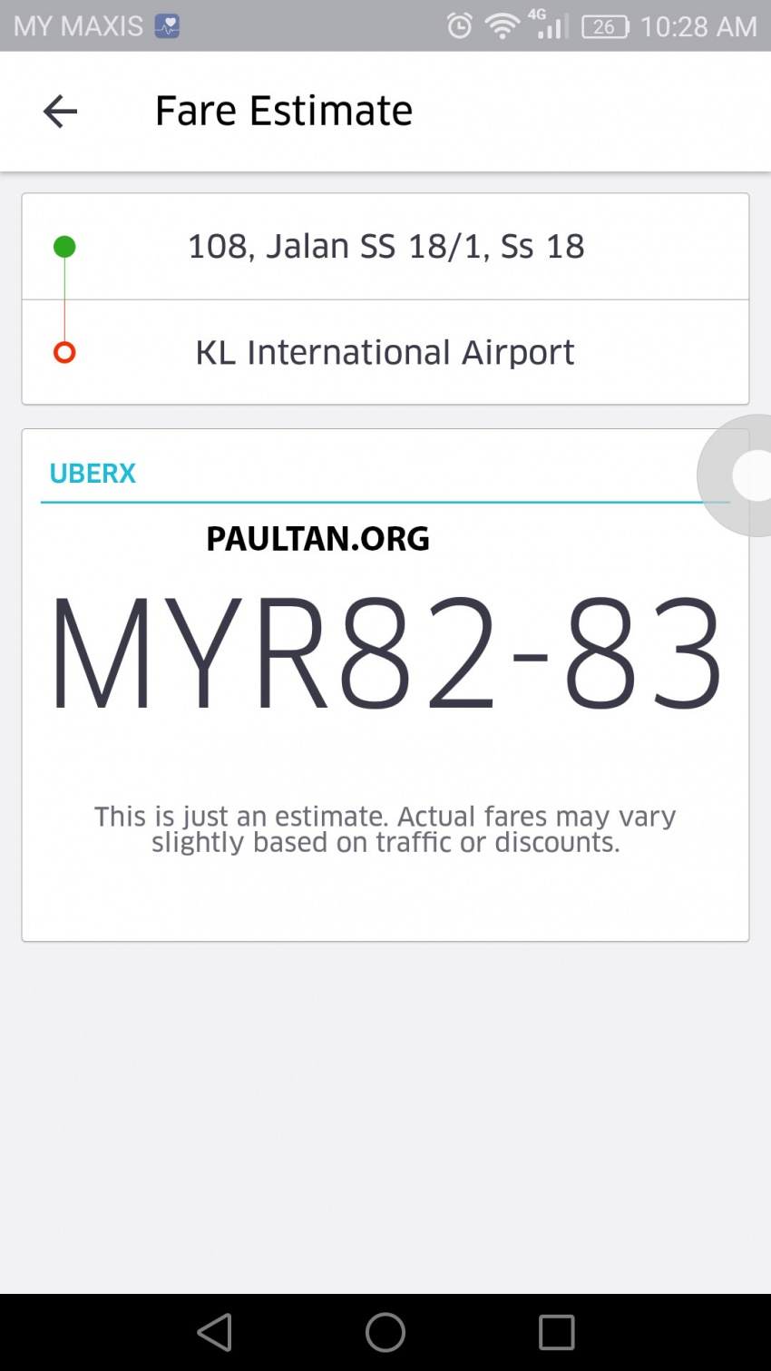 UberX in KL now shows riders fares upfront for clarity Image #564989