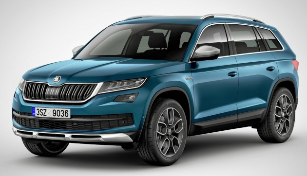 skoda kodiaq scout 7 seat suv gets a rugged outfit. Black Bedroom Furniture Sets. Home Design Ideas