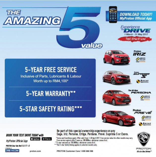 Proton offers 5-year free service on all models